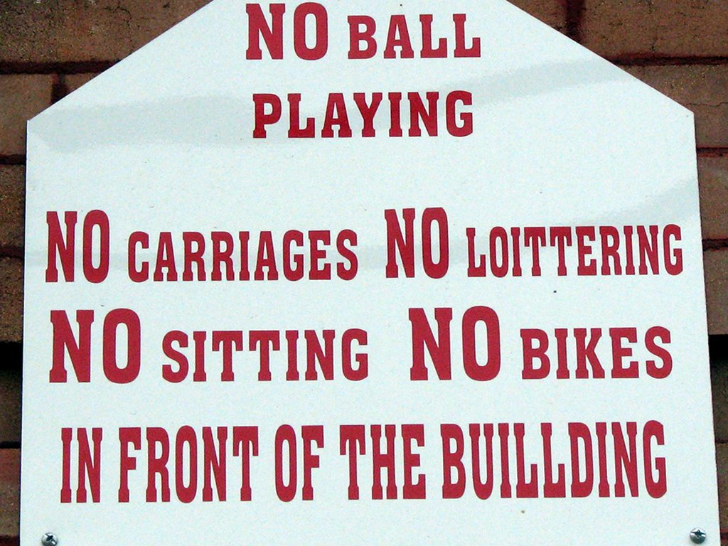 NO LOITTERING IN FRONT OF BUILLDING