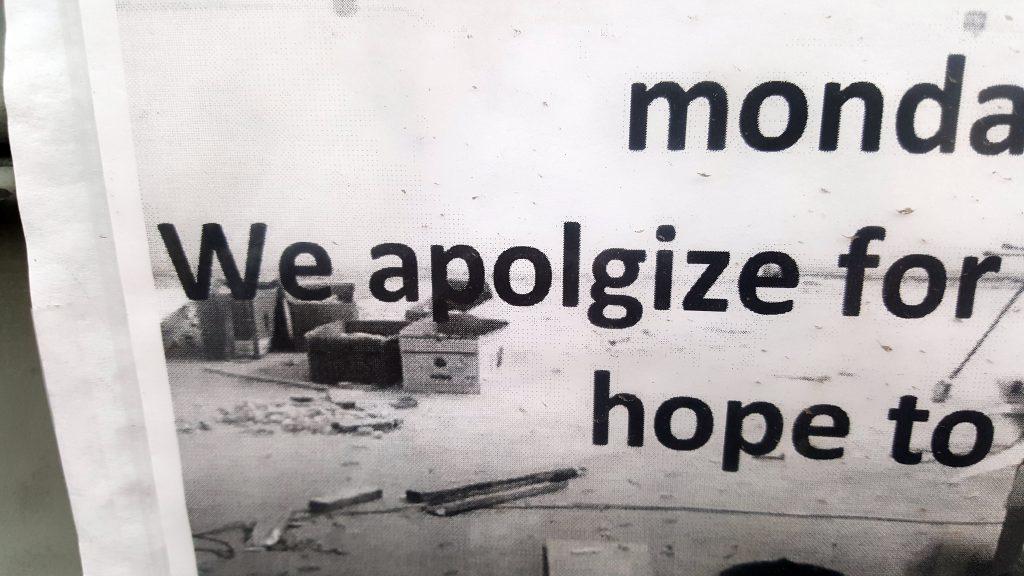 WE APOLGIZE