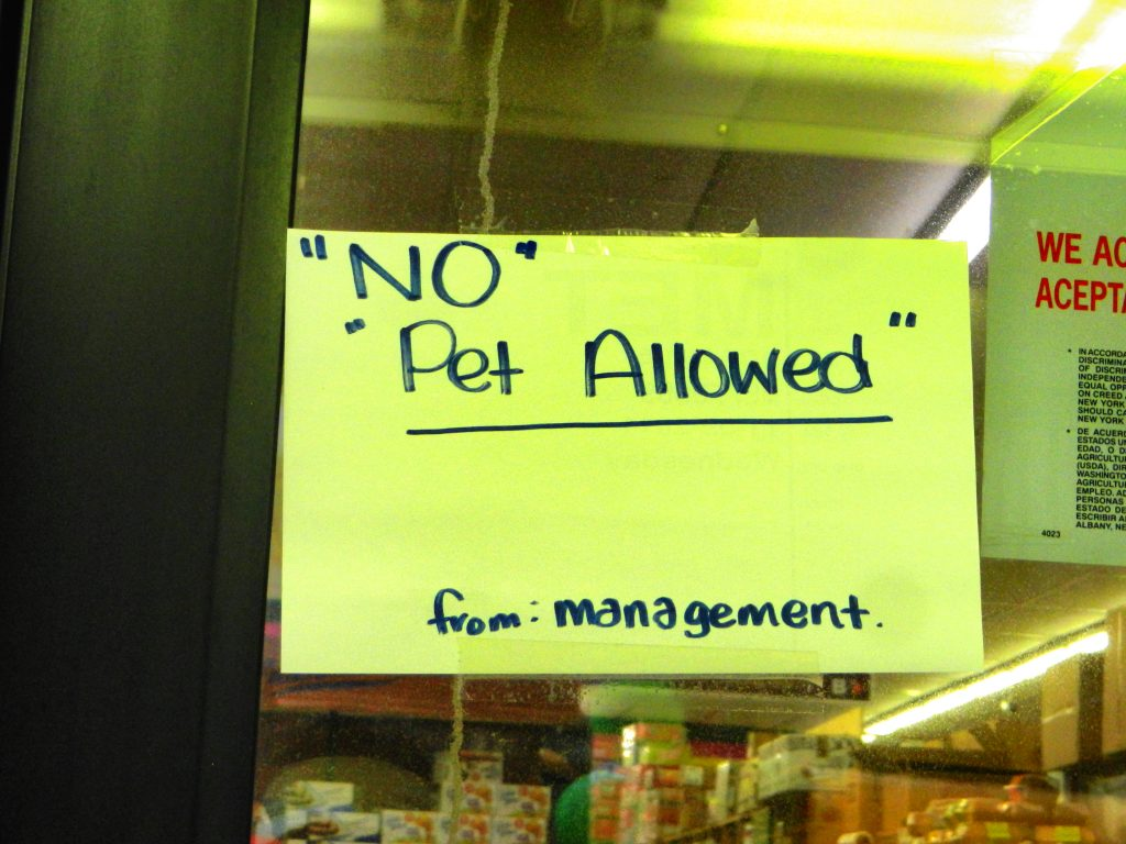 """NO"" ""PET ALLOWED"""