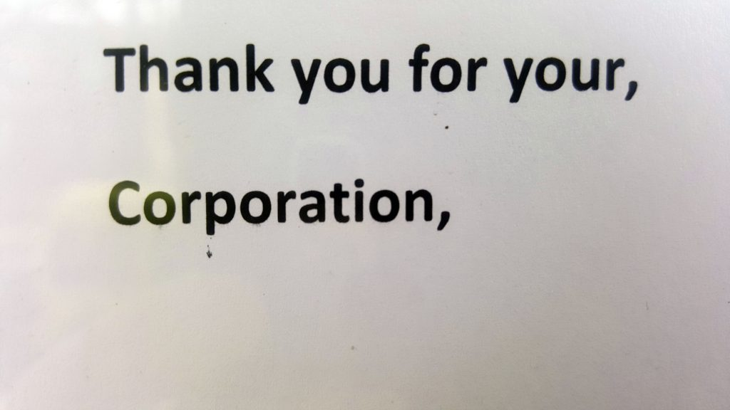 THANK YOU FOR YOUR, CORPORATION,