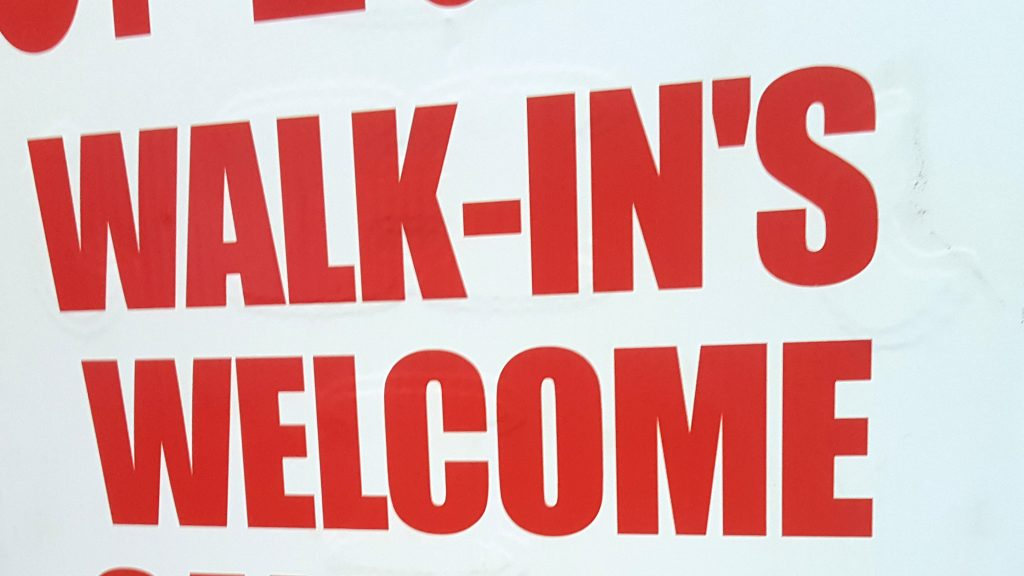 WALK-IN'S WELCOME