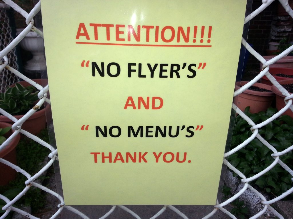 """NO FLYER'S"" AND ""NO MENU'S"""