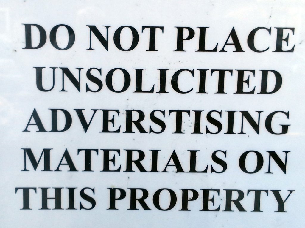 UNSOLICITED ADVERSTISING