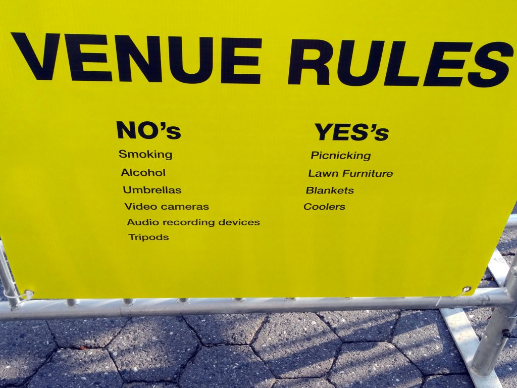NO's and YES's. VENUE RULES.