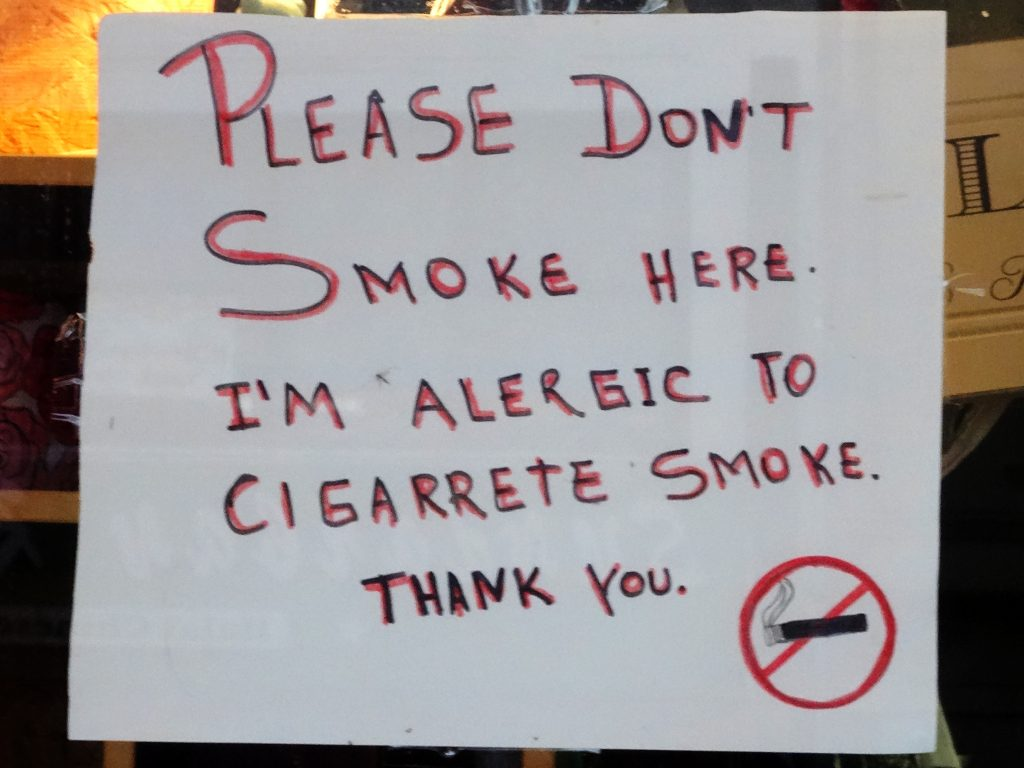 ALERGIC TO CIGARRETE SMOKE