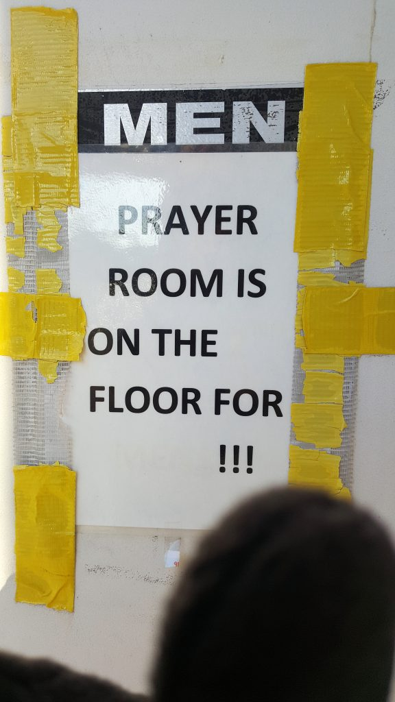 PRAYER ROOM IS ON THE FLOOR FOR !!!