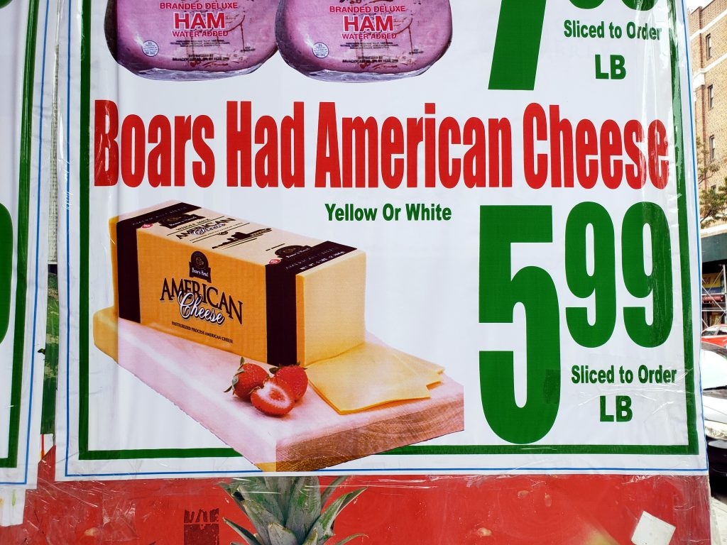 BOARS HAD AMERICAN CHEESE