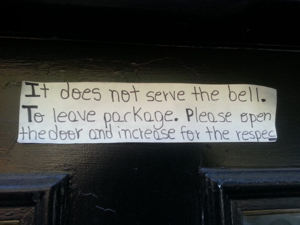 IT DOES NOT SERVE THE BELL. TO LEAVE PARKAGE. PLEASE OPEN THE DOOR AND INCREASE FOR THE RESPEC
